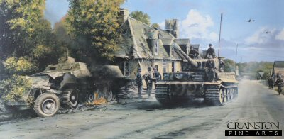 DHM1784. Holding the Line by Richard Taylor. <p> Skillfully led by their mercurial commander, SS-Hauptsturmfuhrer Michael Wittmann, the Tiger Tanks of s.SS-Pz. Abt. 101 blaze through a shattered French village in the days following D-Day, June, 1944. Their destination - Normandy! <b><p> Signed by <br>Feldwebel Heinz Fellbrich (deceased), <br>Sturmann Karl-Heinz Decker<br>and<br>Obergefreiter Henry Metelmann (deceased). <p> Signed limited edition of 400 prints.  <p> Paper size 35 inches x 21.5 inches (89cm x 54cm)  Image size 28 inches x 16 inches (72cm x 41cm)