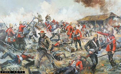 DHM1791. Rorkes Drift by Jason Askew. <p> The painting depicts the climax of the Zulu attacks at the defence of Rorkes Drift. The Zulus were unable to effectively penetrate the mealie bag defenses at Rorkes Drift, even though they succeeded in burning down the hospital, and peppering the storehouse with bullet holes. The confined space available to the British garrison caused a certain degree of physical compression, but this in fact worked against the Zulus, as it drove the defenders closer together with the result being that the volley fire from the defenders was concentrated and subsequently very effective at close range, as opposed to the spread out skirmish line type formation used at Isandlwhana. The Zulu attacks also became uncoordinated, being driven forward by charismatic individuals, but lacking the support of the necessary numbers needed to overwhelm the desperate defenders, who now appreciated that they were literally fighting for their lives. <b><p>Limited edition of 1150 prints.  <p>Image size 19 inches x 10 inches (48cm x 25cm)