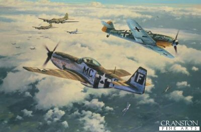 DHM1794AP. Clash of Eagles by Anthony Saunders. <p> P-51 Mustangs of the 20th Fighter Group, flying out of Kings Cliffe to engage Me109s from JG77 in a furiously contested dogfight. Below them a formation of B-17s from the 379th Bomb Group &#64258;y through the chaos, doggedly maintaining their course, as they head on to attack the huge synthetic oil re&#64257;nery at Meresburg, southern Germany, on 11 September 1944. So vital was this refinery to the Nazi war machine that it became one of the most heavily defended targets in Germany, the air defences even surpassing those of Berlin. <b><p>Signed by <a href=signatures.php?Signature=299>Lieutenant Colonel Clyde B East</a> and <a href=signatures.php?Signature=1623>Oberleutnant Kurt Schulze</a>.  <p>Limited edition of 25 artist proofs.   <p>Paper size 26.5 inches x 19.5 inches (67cm x 50cm)  Image size 21.5 inches x 14 inches (54cm x 36cm)