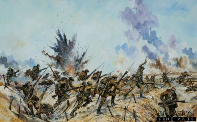 DHM1802. The Great Folly of 1916 by Jason Askew. <p> Assault in the vicinity of Thiepval by the Ulster division-1st July 1916.  The 11th Royal Irish Rifles, moving forward from the A line of trenches, and moving forward to attack the B line of trenches, the attacking infantry are preceded by Bombers - seen carryng grenades in green canvas buckets - who are engaged in throwing grenades in anticipation of the rifle company assault on the enemy trenches; an activity barely changed since the days of Marlborough.  The rifle companies are armed with the Lee Enfield SMLE - a superb rifle, though expensive to make.  The advance is made with bayonets fixed, as trench clearing involved numerous hand to hand confrontations and bayonet fights.  The rifle companies are supported by  two Lewis gun teams per company.  Note that visible in the painting is a man carrying an orange painted steel marker, painted on one side only. The markers are to to indicate to British artillery observers as to the most forward positions taken by the British advance.  Naturally, one does not present the orange side to the enemy! <b><p>Signed limited edition of 1150 prints. <p>Image size 18 inches x 12 inches (46cm x 31cm)