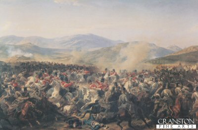 Charge of the Heavy Brigade during the Battle of Balaclava 25th October 1854  by Felix Philippoteaux.
