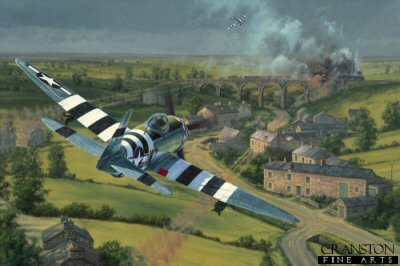 With orders to destroy, delay or disrupt enemy forces en-route to the Normandy battle area, P-47 Thunderbolts from the 78th Fighter Group launch a blistering high-speed, low-level attack, on a German freight train in occupied northern France, June 1944. Desperately attempting to transport vital supplies to the front by daylight, it has fallen prey to the cannons and bombs of the eagle eyed Thunderbolt pilots.