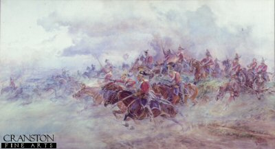DHM185. Charge of the 6th Inniskilling Dragoons at Waterloo by Lady Elizabeth Butler. <b><p> Open edition print. <p> Image size 23 inches x 12 inches (58cm x 31cm)