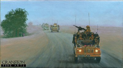 DHM1850. WMiK Convoy Protection - Afghanistan by Graeme Lothian. <p> WMiks providing cover protection for large convoy. Helmand, Afghanistan.  Manufactured by Land Rover and Ricardo, the WMiK or Weapons Mount Installation Kit typically carries one heavy machine gun and one general purpose machine gun.  In use as reconnaissance and close support vehicles, they have become recognised as a symbol of the British forces in Afghanistan. <b><p>Limited edition of 30 giclee art prints.  <p> Image size 12 inches x 8 inches (31cm x 21cm)