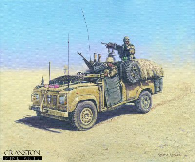 DHM1851. WMiK - Afghanistan by Graeme Lothian. <p> WMik. Helmand, Afghanistan.  Manufactured by Land Rover and Ricardo, the WMiK or Weapons Mount Installation Kit typically carries one heavy machine gun and one general purpose machine gun.  In use as reconnaissance and close support vehicles, they have become recognised as a symbol of the British forces in Afghanistan. <b><p>Limited edition of 30 giclee art prints.  <p> Image size 12 inches x 8 inches (31cm x 21cm)