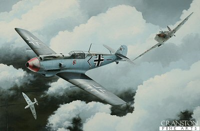 DHM1855. Flt Lt Walter Lawson by Ivan Berryman. <p> Depicting the No.19 Sqn Spitfire Mk.IIA of Flt Lt Walter Lawson attacking a Bf.109 E-4 of JG.3 in the Summer of 1940. The final tally of Lawson before he was listed as missing in August 1941 was 6 confirmed, 1 shared, 3 probables and 1 damaged.  The Bf.109 shown here was flown by Oberleutnant Franz von Werra. He survived this encounter, but was shot down over Kent in September 1940. <b><p>The first few prints in this edition have been signed by Group Captain Byron Duckenfield AFC (deceased), <br>Flight Lieutenant Alex Thom DFC<br>and<br>Wing Commander John Freeborn DFC* (deceased) and are currently available.<p>Signed limited edition of 20 giclee art prints.  <p> Image size 26 inches x 17 inches (66cm x 43cm)