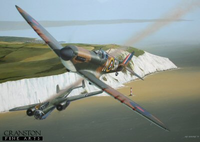 DHM1870PC. The Longest July by Ivan Berryman. <p> Posted to 64 Squadron on 1st July 1940, the tragically short relationship of Sub Lt F Dawson Paul with the Spitfire was crammed with victories.  He immediately shared a Dornier Do17 off Beachy Head and, just four days later claimed a Messerschmitt Bf.109.  Further kills were confirmed over the next two weeks, among them five Bf.110s and another Do.17. His final victory was a Bf.109 on 25th, but on this day he fell to the guns of the German ace Adolf Galland.  Dawson Paul was rescued from the English Channel by a German E-boat, but died of his wounds five days later as a prisoner of war.  <b><p>Collector&#39;s Postcard - Restricted Initial Print Run of 100 cards.<p>Postcard size 6 inches x 4 inches (15cm x 10cm)