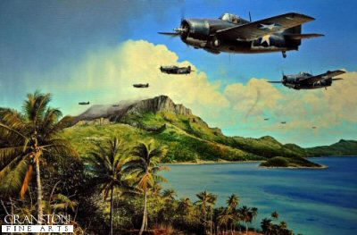 DHM1887. Holding the Tide by Richard Taylor. <p> On 7 August 1942, just eight months after the dramatic events at Pearl Harbor, the United States First Marine Division stormed ashore on the island of Guadalcanal. It was the opening gambit of the land war in the Pacific.  The painting depicts Captain Joe Foss as he leads the F4F Wildcats of VMF-121 back to Henderson Field after a day of desperate fighting against the Japanese in the skies over the steaming jungles of Guadalcanal in November 1942 - it would be another three months before the island was finally secured during which time Joe Foss would achieve an astonishing 26 victories to become the first American pilot to equal WW1 Ace Eddie Rickenbackers score. <b><p>Signed by : <br><a href=signatures.php?Signature=2024>Commander Leslie Fortner USMC</a><br>and<br><a href=signatures.php?Signature=595>Captain Stanley Swede Vejtasa USN</a>. <p>Limited edition of 350 prints.<p> Paper size 32 inches x 24 inches (82cm x 61cm)