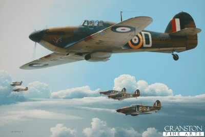DHM1912B. High Patrol by Ivan Berryman. <p> Hawker Hurricane Mk 1s of No 242 Sqn patrol a glorious September sky as the Battle of Britain reaches its climax in the Summer of 1940. The nearest aircraft is that of Sqn Ldr Douglas Bader, flying V7467 in which he claimed four victories, plus two probables and one destroyed. P/O W L McKnight (LE-A) and P/O D W Crowley-Milling (LE-M) are in close attendance. <b><p>Signed by Wing Commander George W Swanwick (deceased)<br>and<br>Flight Lieutenant Richard L Jones (deceased).<p>Battle of Britain Pilots edition of 200 prints.  <p> Image size 17 inches x 11 inches (43cm x 28cm)