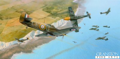 DHM1914. Into the Fray by Richard Taylor. <p> Squadron Leader Douglas Bader leads the Hurricanes of 242 Squadron in an aggressive diving attack upon a large force of Heinkel 111s approaching the Kent coast, whilst Spitfires from 66 Squadron tangle with the escorting Bf109s of JG52.  It is September 1940, and the climax of the Battle of Britain.  Throughout those critical months in 1940, the RAF engaged opposing pilots of the Luftwaffe time and time again and this atmospheric new painting depicts one such frantic engagement as one of the most legendary fighter Aces of the war, Douglas Bader leads his unit into battle. <b><p> Signed by Group Captain Billy Drake DSO DFC* (deceased)<br>and<br>Group Captain Byron Duckenfield AFC (deceased). <p>Signed limited edition of 350 prints.  <p> Paper size 35 inches x 21.5 inches (88cm x 54cm)