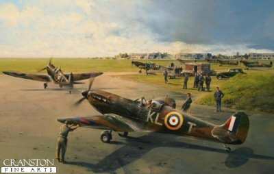 DHM1940AP. Hornchurch Scramble by Robert Taylor. <p> On August 12th, 1940 the Luftwaffe turned their full attention to the RAF&#39;s forward fighter bases and radar stations with the intent to obliterate them once and for all.  The outcome of the Battle of Britain hung in the balance.  It was late in the afternoon of Sunday, 18 August 1940.  The previous week had seen the hardest days of fighting in the Battle of Britain as the young pilots of the RAF Fighter Command had engaged in deadly duels with the Luftwaffe.  Bystanders gazed cautiously upwards at the weaving contrails in the clear blue skies over southern England as they anxiously awaited the outcome.  For just a moment, all was at peace:  A gentle breeze floated across the airfield at RAF Hornchurch as the exhausted young pilots of 54 Squadron could rest for a few brief minutes and reflect on their own previous two encounters with the enemy that day.  The Luftwaffe had thrown everything at them in the past few days, but today had been the toughest of them all.  And then the calm was shattered by the shrill tones of the alarm, the Luftwaffe had launched another huge raid of over 300 aircraft across the Channel, and it looked like Hornchurch was the target.  Hornchurch Scramble, portrays the moment as 54 Squadron&#39;s commanding officer, Squadron Leader James Leathart, taxis out at Hornchurch to prepare for take-off.  Quickly following, the aircraft of New Zealander Colin Gray is guided out from dispersal by his ground crew.  Gray would claim 3 Bf110s in the encounter and would eventually become the top scoring New Zealand Ace of the war. <p><b>SOLD OUT.</b><b><p> Signed by :<br><a href=profiles.php?SigID=67>Wing Commander George W Swanwick (deceased)</a>,<br><a href=profiles.php?SigID=84>Squadron Leader Stuart Nigel Rose</a>,<br><a href=profiles.php?SigID=77>Squadron Leader Tony Iveson DFC (deceased)</a>,<br><a href=profiles.php?SigID=1294>Squadron Leader Maurice P Brown (deceased)</a>,<br><a href=profiles.php?SigID=52>Wing Commander Tom Neil DFC* AFC</a>,<br><a href=profiles.php?SigID=33>Group Captain Billy Drake DSO DFC* (deceased)</a>,<br><a href=profiles.php?SigID=46>Wing Commander Bob Foster DFC</a>,<br><a href=profiles.php?SigID=1608>Pilot Officer Norman Brown</a><br>and<br><a href=profiles.php?SigID=1593>Wing Commander Roger Morewood</a>. <p> Anniversary edition of 25 artist proofs.  <p> Paper size 33 inches x 25 inches (84cm x 64cm)  Image size 26.5 inches x 17.5 inches (67cm x 44cm)