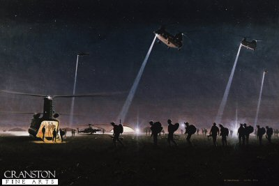 DHM1944. Operation Moshtarak by Graeme Lothian. <p> 3.30am, 13th February 2010.  RAF Chinooks come in to land at Bastion to enplane troops. There were eleven flights of airframes commencing at 3.30 am and lasting three hours until first light. The Regiments involved: The 1st Royal Welsh, 1st Grenadier Guards Battle Group, Scots Guards, US Marine Corps and various ISAF controlled units. ANA and ANP.  The scene was witnessed and filmed and photographed for the BBC by the official war artist on Herrick 11. <b><p>Signed limited edition of 1150 paper prints.  <p> Image size 17 inches x 11 inches (43cm x 28cm)