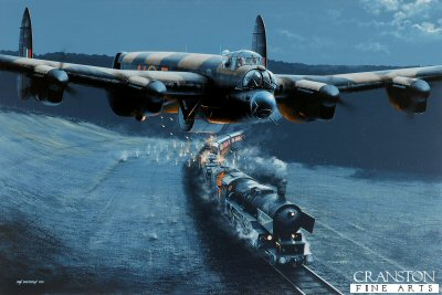 DHM1959PC. Raining Fire by Ivan Berryman. <p>Flying impossibly low en route to the Sorpe Dam on the night of 16th/17th May 1943 as part of Operation Chastise, Flight Sergeant Ken Brown&#39;s Lancaster ED918(G) encountered a number of German trains. On three occasions,   AJ-F&#39;s nose and tail gunners (Sgt D Allaston, front and F/Sgt G S MacDonald, rear) opened fire, pouring shells and hot tracer rounds into the lumbering locomotive and its rolling stock, wreaking havoc along the way. ED918(G) eventually arrived at the Sorpe Dam at 3.00am where it successfully released its Upkeep bomb, but without breaching the dam.  Brown and his crew returned safely, their aircraft riddled with holes, perhaps partially due to their route home taking them over the breached Mohne Dam, where they briefly exchanged gunfire with the German batteries there.<b><p>Collector&#39;s Postcard - Restricted Initial Print Run of 100 cards.<p>Postcard size 6 inches x 4 inches (15cm x 10cm)