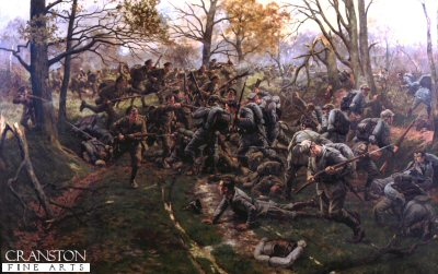 Defeat of the Prussian Guard at Ypres, 1914, by the 2nd Battalion Ox and Bucks (52nd) by William Barnes Wollen. (Y)