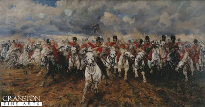 DHM200. Scotland Forever by Lady Elizabeth Butler. <p> Probably the best known painting of the gallant charge of the Royal North Dragoons, The Scots Greys at the Battle of Waterloo. According to an eyewitness Alexander Armour at the start of the charge of the greys had to pass through the ranks of the Highland Brigade and armour recalled The highlanders were then ordered to wheel back, when they did so we rushed through them at the same time they heard us calling Now my boys Scotland Forever.<b><p> Open edition print. <p>Image size 32in x 15in (81cm x 38cm)