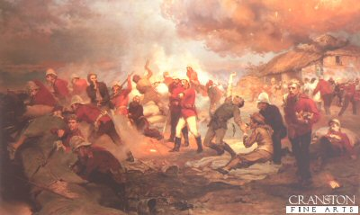 DHM2000. Defence of Rorkes Drift by Lady Elizabeth Butler. <p>On January 22nd 1879, during the Zulu War, the small British field hospital and supply depot at Rorkes Drift in Natal was the site of one of the most heroic military defences of all time.  Manned by 140 troops of the 24th Regiment, led by Lieutenant John Chard of the Royal Engineers, the camp was attacke by a well-trained and well-equipped Zulu army of 4000 men, heartened by the great Zulu victory over the British forces at Isandhlwana earlier on the same day.  The battle began in mid afternoon, when British remnants of the defeat at Isandhlwana struggled into the camp.  Anticipating trouble, Chard set his small force to guard the perimeter fence but, when the Zulu attack began, the Zulus came faster than the British could shoot and the camp was soon overcome.  The thatched roof of the hospital was fired by Zulu spears wrapped in burning grass and even some of the sick and the dying were dragged from their beds and pressed into the desperate hand-to-hand fighting.  Eventually, Chard gave the order to withdraw from the perimeter and to take position in a smaller compound, protected by a hastily assembled barricade of boxes and it was from behind this barricade that the garrison fought for their lives throughout the night.  After twelve hours of battle, the camp was destroyed, the hospital had burned to the ground, seventeen British lay dead and ten were wounded.  However, the Zulus had been repulsed and over 400 of their men killed.  The Battle of Rorkes Drift is one of the greatest examples of bravery and heroism in British military history.  Nine men were awarded Distinguished Conduct Medals, and eleven, the most ever given for a single battle, received the highest military honour of all, the Victoria Cross.<p> Newly published from the original oil painting owned by Her Majesty the Queen.  <b><p>Open edition print.  <p> Image size 25 inches x 13 inches (64cm x 33cm) plus white border without text.