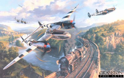 P-38 Lightnings launching a surprise attack on a German freight train as it winds its way through the hills of Northern France towards the battle front, shortly before D-Day, 1944