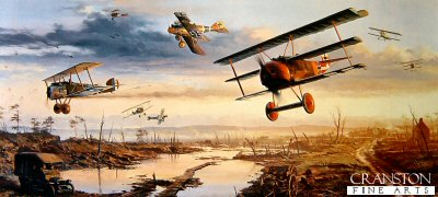 DHM2029AP. Richthofens Flying Circus by Nicolas Trudgian. <p> Nicolas Trudgians dramatic painting recreates a scene near Cambrai, Northern France on the morning of March 18, 1918. Aware of a build-up of forces for a massive German offensive, many RFC squadrons attacked the German positions at very low altitude. Responding with as many squadrons as they could muster, including Richthofens JG1 wing, there followed one of the largest dog-fights of the entire First World War. Seen in the foreground are a Fokker Triplane and an Albatros, having winged a Sopwith Camel from 54 Squadron, as another Camel, and a Bristol fighter of 11 Squadron RFC turn to engage the German fighters.  <b><p>  Limited edition of 50 artist proofs.  <p>Image size 38 inches x 23 inches (97cm x 58cm)