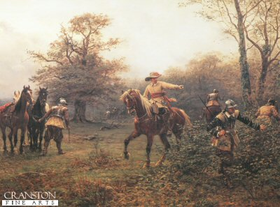 DHM203B.  The Boscobol Oak, By Ernest Crofts. <p>The younger Charles, after escaping the Worcester rout, is hiding in a pollard oak, with the Roundheads hunting for him.<b><p> Open edition print. <p> Image size 24 inches x 15 inches (61cm x 38cm)