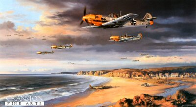 DHM2033. Stormclouds Gather by Nicolas Trudgian. <p> Me109s of I/JG2, under the command of the brilliant Helmut Wick, setting out on a mission across the English Channel in September 1940. Wick, seen in the foreground, with Gunther Seeger off his starboard wing, was the top-scoring Luftwaffe Ace in the Battle of Britain with 56 victories. <br><br><b>Published 2000.</b><p><b>Last 30 copies of this sold out edition. </b><b><p> Signed by Oberleutnant Gunther Seeger and Oberleutnant Siegfried Bethke (deceased), in addition to the artist.  <p> Signed limited edition of 400 prints.  <p>Paper size 27 inches x 19 inches (69cm x 48cm)