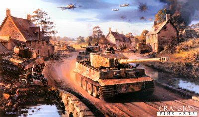 DHM2035. Tigers in Normandy by Nicolas Trudgian. <p> The Battle for Point 112, a strategically positioned hill just a few miles south-west of Caen, was the scene of the most violent fighting between German and British armor, artillery and ground troops during the weeks immediately following the D-Day invasion, in June 1944.  Desperate to regain Hill 112, on July 9th, the Tiger tanks of SS Panzer Battalion 102 were ordered to advance.  2 Kompanies Tigers managed to occupy the eastern slopes of the hill, while 1 Kompanie came under fire as they rached the first houses in the small village of Maltot.  At this point they came head on to British Sherman tanks.  Entering the village firing his 88, Unterscharfuhrer Fey in tank 138 quickly knocked out three Shermans at 200 yards range, and by the evening of July 10th the Panzers had re-taken Maltot.  But Allied artillery had driven the Germans off Hill 112.  The battle raged on for another three weeks when on August 1st the Allies frove the Germans off Point 112 for the final time.  Tigers of SS Panzer Battalion 102 yet again advance towards the infamous hill, passing two Shermans knocked out in the previous days fighting. Overhead, Me109s of II./JG26 give aerial support as the German armour makes a last ditch attempt to repel the advancing forces, in their effort to hold the important city of Caen. <p><b>Last 5 prints remaining.</b><b><p>Signed by Oberstleutnant Alfred Rubbel, <br>Feldwebel Richard Schwarzmann (deceased) <br>and <br>Unteroffizier Dr Franz-Wilhelm Lochmann.<p> Signed limited edition of 600 prints.  <p>Paper size 34 inches x 24 inches (86cm x 61cm)