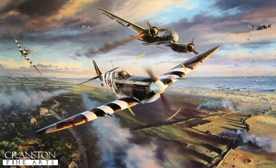 DHM2037. Victory Over Gold by Nicolas Trudgian. <p> Frustrated by the absence of Luftwaffe aircraft over the Normandy beaches on D-Day, Allied fighter pilots were spoiling for a fight. When a dozen Ju88s appeared over Gold Beach on the following morning, June 7, 1944, the patrolling Spitfires of 401 Squadron wasted no time in getting into the fray.  At just after 0800 hours twelve Junkers Ju88s appeared out of the 2000ft. cloud base, intent on making a diving attack on the heavily populated beachhead. Wheeling their Spitfires into the on-coming attack, Squadron Leader Cameron, C.O. of 401 Squadron, called his pilots to pick their own targets, and all hell broke loose. In the ensuing dogfight 401 Squadrons Canadian pilots destroyed no fewer than six of the Ju88s, and the attack on the beach was averted.  Nicolas Trudgian recreates the scene as Flying Officer Arthur Bishop, son of WWI Ace Billy Bishop, brings down one of the Ju88s that day. With its starboard engine on fire, and its hydraulics shot away, the doomed Luftwaffe fighter-bomber begins its ultimate uncontrollable roll. F/O Arthur Bishop hurtles past the stricken bomber, Nicks superb study showing every detail of his Mk IX Spitfire.  Below the pockmarked landscape and beachhead is packed with detail and activity: No fewer than fifty vehicles of all description can be counted, with as many ships and landing craft offshore. Some thirty aircraft are visible in the sky. A massively comprehensive image that will keep collectors endlessly absorbed in a wholly realistic atmosphere, created by a hugely talented and highly respected aviation artist. <p><b>Last 30 copies available of this sold out edition.</b><b><p>Signed by Air Commodore Peter Brothers (deceased), <br>Wing Commander Christopher Bunny Currant (deceased) <br>and <br>Wing Commander Tom Neil, in addition ot the artist. <p> Limited edition of 400 prints.  <p>Print size 34 inches x 24 inches (86cm x 64cm)