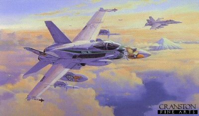 DHM2039. Chippy Ho by Philip West. <p> Chippy Ho and his wingman from VFA-195, hurtle through the sky with Mount Fuji in the background, armed and ready for action at a moments notice. The McDonnell Douglas F-18 became the backbone of the US Navy and Marine Corps for the past twenty years. These two aircraft were based at Kadena AB, Okinawa and their armament consists of AIM-9L Sidewinders, AGM-88 missiles, sensor pods and drop tanks. <b><p> Signed limited edition of 500 prints. <p> Paper size 27 inches x 18 inches (69cm x 46cm)