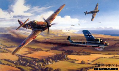 DHM2054B. Holding the Line - The Battle of Britain by Nicolas Trudgian. <p>  They came across the English Channel at wave top height, their propeller slipstreams leaving wakes on the surface of the water.  Nine Dornier Do17Z bombers of 9th Staffel, KG76, detailed to attack the RAF airfield at Kenley as part of Reichsmarshal Gorings prelude to Operation Sealion - the invasion of Britain.  Hitler knew that RAF Fighter Command had to be destroyed in the airand on the ground if his plans were to succeed, but the German High Command failed to take into account the resilience of the young Hurricane and Spitfire pilots, and their determination to hold this last vital line of defence.  The Dorniers were spotted as they approached the English coast, and Hurricanes were scrambled to intercept.  The German bombers cleared the North Downs with feet to spare and spread out into attack formation as they lined up on the hangars at Kenley.  As they came in over the airfield Hurricanes of 111 Squadron came diving upon them.  Suddenly all hell broke loose.  Bombs rained down on to the airfield and buildings went up in flames.  One Dornier was brought down and tow more, badly damaged by ground fire, were finished off by the Hurricane pilots.  Now the chase was on to catch the others before they could escape back to their base in Northern France. Only one of the nine Dorniers that set out will return to base on that 18th day of August, 1940.<b><p> Limited edition of 100 special artist reserve prints. <p> Image size 26 inches x 16 inches (66cm x 41cm)