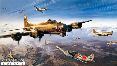 DHM2057. First Strike on Berlin by Nicolas Trudgian. <p> The first successful daylight raid on Berlin. Nicolas Trudgians painting relives the fearsome aerial combat on March 6, 1944, as B-17 Flying Fortresses of the 100th B.G. are attacked. Screaming in head-on, Fw190s of II./JG I charge into the bomber stream. With throttles wide open, 56th Fighter Group P-47 Thunderbolts come hurtling down to intercept. B-17 gunners are working overtime, the air is full of cordite, smoke, jagged pieces of flying metal and hot lead. We are in the midst of one of the fiercest aerial battles of the war. <p><b>Last 18 copies available of this sold out edition. </b><b><p> Signed by <a href=signatures.php?Signature=917>Colonel Morton Magoffin (deceased)</a>, <br><a href=signatures.php?Signature=918>Captain C B Red Harper</a> <br>and <br><a href=signatures.php?Signature=919>First Lieutenant Ed McKay (deceased)</a>, in addition to the artist. <p>  Signed limited edition of 600 prints.<p> Paper size 35 inches x 24 inches (89cm x 61cm)