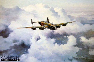 DHM2094.  Halifax Legend by Robert Tayor. <p>RAF Pathfinder founder and Commander signs print featuring the four engined Halifax bomber.<b><p>Signed by Air Vice Marshall Donald Bennett (deceased). <p>Signed limited edition of 1500 prints.  <p>Paper size 24 inches x 20 inches (61cm x 51cm)