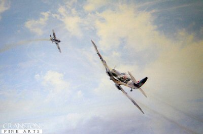 DHM2095.  Ramrod by Robert Taylor. <p> During operation Ramrod 792 on April 25, 1944, leading his Spitfire wing, Johnnie Johnson had a long-running combat with an FW190. Robert Taylor shows the last moments of the duel which ended in victory for the Allied Air Forces leading fighter Ace. <p><b>Sold out at the publisher - last few copies available.</b><b><p>Signed by <a href=signatures.php?Signature=14>Air Vice Marshal Johnnie Johnson CB, CBE, DSO**, DFC* (deceased)</a>. <p> Signed limited edition of 1500 prints.  <p>Paper size 24 inches x 20 inches (61cm x 51cm)