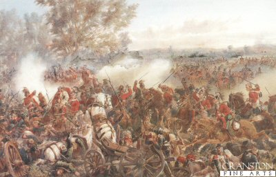 DHM211.  The Battle of Waterloo, Charge of the Inniskillings by Orlando Norie. <b><p>Open edition print. <p> Image size 16 inches x 11 inches (41cm x 28cm)