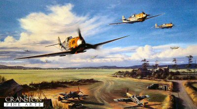 DHM2112. Dragons of Colombert by Nicolas Trudgian.  <p> In the summer of 1940, JG3, under the command of Hans von Hahn, scramble their Me109s from their French countryside base at Colombert, near Calais. With the deafening sound of their piston-engined aircraft, sporting the groups colourful Dragon emblem on their cowlings, they head for the battle front. <br><br><b>Published 2000.</b><b><p> Signed by <a href=signatures.php?Signature=257>Oberstleutnant Gunther Scholz (deceased)</a> and <a href=signatures.php?Signature=258>Oberstleutnant Erwin Leykauf (deceased)</a>, in addition to the artist. <p>  Signed limited edition of 500 prints. <p>Paper size 27 inches x 19 inches (69cm x 48cm)