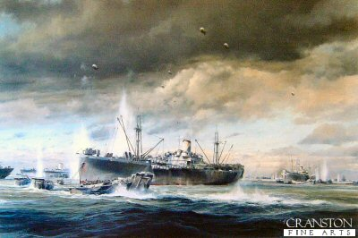 DHM2118.  D-Day Normady Landings by Robert Taylor. <p> On June 6, 1944, no fewer than 4000 ships landed 133,000 assault troops on the beaches of Normandy. A further 23,000 parachuted in, whilst Allied aircraft flew 14,000 sorties on that historic day. By the end of August 200,000 seamen had transported two million troops across to France. It was the greatest and most successful military invasion in history, which led to the downfall of Hitlers Germany, and the end of the war in Europe. Robert Taylors painting captures the very essence of that herculean battle. The painting is dominated by one of the many large transport ships, lowering her landing craft under bombardment from shore batteries. Barrage balloons flying, this massive fleet sailed into the teeth of the German defences, to land its invasion forces against all odds.<b><p>Signed by Brigadier Sir Alex Stanier BT,DSO,MC (deceased). <p> Signed limited edition of 1500 prints. <p>Print size 24 inches x 20 inches (64cm x 51cm)