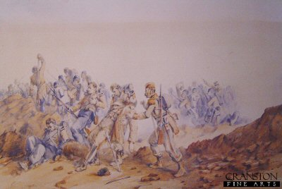 DHM212.  The 55th Regiment at the Battle of Inkerman by Orlando Norie. <b><p>Open edition print. <p> Image size 16 inches x 11 inches (41cm x 28cm)