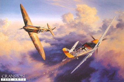 DHM2122. Head to Head by Nicolas Trudgian. <p> A classic head-to-head combat between Squadron Leader Sandy Johnstone in his Spitfire and an Me109 over the south coast of England on 25th August, 1940. With 602 Squadron scrambled to intercept an approaching raid. The Commanding Officer notches up his second victory of the day. <br><br><b>Published 2000.</b><p><b>Last 3 copies of this sold out edition. </b><b><p> Signed by Squadron Leader Sandy Johnstone (deceased), <br>Wing Commander Paddy Barthrop (deceased), <br>Air Commodore C J Mickey Mount (deceased), <br>Squadron Leader S Nigel Rose, <br>Air Commodore Paul Webb (deceased), <br>Wing Commander Hector MacLean (deceased), <br>Flying Officer Hugh Niven (deceased) <br>and <br>Wing Commander Donald M Jack (deceased), in addition to the artist. <p>  Signed limited edition of 500 prints. <p> Paper size 26 inches x 21 inches (66cm x 53cm)