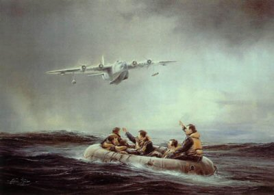 DHM2148.  First Sighting by Robert Taylor. <p> Downed aircrew often drifted for days in their small inflatable dingies hoping rescue would come. Robert Taylors painting depicts that first sighting by an Air Sea Rescue Sunderland and the moment of joy of the aircrew. <p><b>One print available of this sold out edition.</b><b><p>Signed by <a href=signatures.php?Signature=569>Group Captain A Carey</a>. <p>Signed limited edition of 1500 prints.  <p>Paper size 20 inches x 14 inches (51cm x 36cm)
