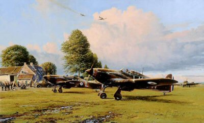DHM2149.  Front Line Hurricanes by Robert Taylor. <p> Based at a temporary formed airfield at Lille Marc, Hurricanes of No. 87 Squadron - showing the strains of battle - taxi in from a skirmish during heavy fighting in the Battle of France, May 1940. <p><b>Sold out at the publisher - we have the last 25 prints available.<br>Sold with 2 companion prints.</b>.<b><p>Signed by : <br>Wing Commander Roland Bee Beamont CBE DSO DFC DL (deceased), <br>Air Commodore Peter Brothers CBE, DSO, DFC* (deceased), <br>Group Captain Frank Carey (deceased), <br>Group Captain Dennis David CBE DFC AFC (deceased), <br>Squadron Leader John Gibson (deceased) <br>and <br>Squadron Leader Kenneth Lee (deceased).<p>Signed limited edition of 800 prints. <p> Paper size 33 inches x 24 inches (84cm x 61cm)