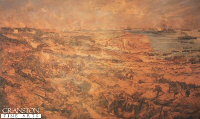 DHM215. Gallipoli by Charles Dixon. <p> Although a very brown picture, it shows the Lancashire Regiment, coming of the beaches during the Gallipoli Campaign.  <b><p> Open edition print. <p> Image size 23 inches x 14 inches (59cm x 36cm)