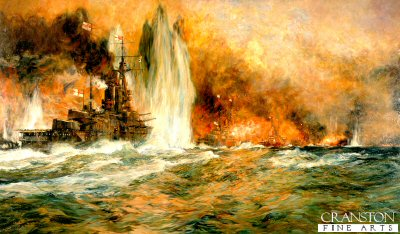 DHM216.  Battle of Jutland by Charles Dixon. <p>A line of Royal Navy battleships engage the German High Seas Fleet during the Battle of Jutland.<b><p>Open edition print.  <p>Image size 23 inches x 14 inches (59cm x 36cm)