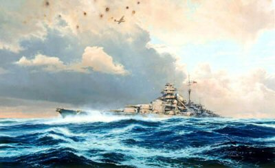 DHM2169AP.  Sighting the Bismarck by Robert Taylor. <p>In the early hours of May 24, 1941, as the mighty German battleships Bismarck and Prinz Eugen slipped through the Denmark Strait, they were dramatically intercepted by the Royal Navy battleships Hood and Prince of Wales. Within six minutes of the first salvo being fired, the Hood, pride of the Royal Navy, was blown out of the water in one of the most gigantic explosions ever witnessed at sea.  Bismarcks fourth salvo landed a shell forward of the Hoods after turrets, piercing her deck, exploding the 4-inch magazine. Simultaneously this detonated the adjacent 15-inch magazine, and in one mighty eruption the battleship broke in two. Within seconds she was gone. Of the ships company of 1400 officers and sailors only three survived.  Outraged at the grievous loss Winston Churchill signaled the Admiralty just three words: Sink the Bismarck! Thus began one of the epic sea chases in the history of naval warfare.  Damaged by shells from the Prince of Wales 14-inch guns and losing fuel oil, Admiral Lutjens broke off the engagement and steamed Bismarck towards the anonymity of the North Atlantic.  Evading the British warships for 32 hours he had hopes of reaching the safety of Brest, but when spotted by a Catalina of RAF Coastal Command, Lutjens knew it was the beginning of the end for the mighty German warship.  When an attack by Ark Royals Swordfish torpedo planes jammed her rudder Bismarcks fate was sealed. As she limped haphazardly through the waves trailing oil, the Home Fleet closed in for the final encounter.  Overwhelmed by British guns and torpedoes, Bismarcks crew fought a gallant last battle, but the odds were too great. Watching Bismarcks final moments from King George Vs bridge, Admiral Tovey said: She put up a noble fight against impossible odds, worthy of the old days of the Imperial German Navy.<p><b>Last print available of this edition - now sold out at the publisher.</b><b><p>Signed by Obergefreiter Hans 