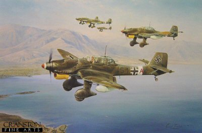 DHM2173AP.  Stuka by Robert Taylor. <p> The Stuka when dressed for war was an awesome spectacle. Robert Taylors outstanding painting shows a formation of JU87s bombed up and fitted with long range tanks heading out on a shipping strike over the Mediterranean in 1941. Following its success in the Polish and French Blitzkrieg campaigns, the Stuka was seen by the German High Command as the supreme new weapon to succeed long range artillery. With its banshee-like wailing siren the Stuka pilots would deliver destruction from the skies and create a devastating psychological effect upon all those below. <b><p> Signed by <a href=signatures.php?Signature=477>Oberst Kurt Kuhlmey (deceased)</a>, Hans-Karl Stepp, <br><a href=signatures.php?Signature=479>Major Franz Kieslich (deceased)</a> <br>and <br><a href=signatures.php?Signature=480>Oberleutnant Helmut Fickel (deceased)</a>.  <p> Limited edition of artist proofs.  <p>Paper size 34 inches x 24 inches (86cm x 61cm)  Only one copy available.