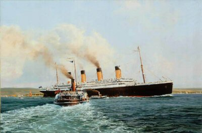 DHM2175.  Titanic by Robert Taylor. <p> Passengers aboard the Isle of Wight ferry gaze in wonder as RMS Titanic steams majestically down the Solent at the outset of her maiden voyage, April 15, 1912.<b><p>Signed limited edition of 500 prints. <p> Paper size 21 inches x 18 inches (53cm x 46cm)