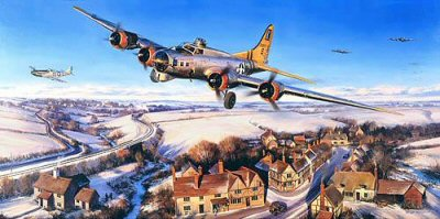 DHM2176. Return to Rattlesden by Nicolas Trudgian. <p> With their crews, the 447th Bomb Group B-17 Fortresses arrived at Rattlesden in late 1943, the East Anglian base from which the group flew all its missions until the end of the war. Entering combat on December 24, the 447th targeted submarine pens, naval installations, ports and missile sites, airfields and marshalling yards in France, Belgium and Germany in preparation for the Normandy invasion. In the thick of the bomber offensive, the 447th took part in the Big-Week raids, supported the D-Day landings, aided the breakthrough at St. Lo, pounded enemy positions during the airborne invasion of Holland, and dropped supplies to the Free French forces fighting behind enemy lines. During the Battle of the Bulge, December 1944 - January 1945, the group attacked marshalling yards, railroad bridges and communications centers in the combat zone, later resuming their offensive against targets deep inside Germany. When the war ended the 447th had flown over 257 individual missions, with one of their aircrew, Robert Femoyer, being awarded the Medal of Honor. Theirs was typical of the action packed campaigns flown by the American Eighth Air Force bomb groups in Europe during WWII. <br><br><b>Published 2001.<br><br>Signed by eight combat crew veterans flying B-17 Flying Fortresses for the 447th BG out of Rattlesden, England, during World War II.</b><b><p> Signed by T/Sgt John C Bitzer, <br>T/Sgt Norman Bussel, <br>Colonel Edward A Dingivan (deceased), <br>First Lt Frank Frision, <br>S/Sgt John H Osbah, <br>S/Sgt Orlando Pete Petrillo, <br>Sgt Byron Schlag <br>and <br>S/Sgt Don Sherman, in addition to the artist. <p> Signed limited edition of 500 prints.  <p>Paper size 37 inches x 22 inches (94cm x 56cm)