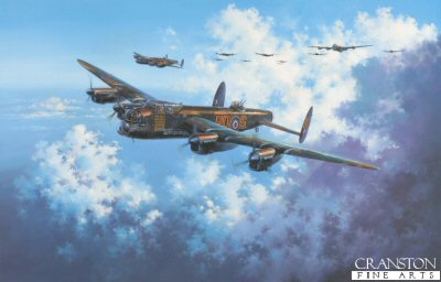 DHM2186.  One Hundred Up! by Simon Atack. <p> Piloted by RAAF skipper T.N.Scholefield, No. 467 Squadrons Lancaster S For Sugar, one of RAF Bomber Commands most famous Lancs, heads out on her 100th mission on May 11, 1944. Embellished with a bomb symbol painted on the fuselage signifying each raid completed, and the infamous Hermann Goering quotation No enemy plane will fly over the Reich Territory, the mighty bomber leads a formation bound for Germany. In total she completed 137 bombing raids. Today, beautifully restored, S For Sugar proudly rests in the RAF Bomber Command Museum at Hendon, London. <b><p>Signed by Flight Sergeant Stan Bradford DFM and Flight Lieutenant Bob Knights DSO DFC (deceased). <p> Signed limited edition of 500 prints. <p> Paper size 23 inches x 31 inches (58cm x 79cm)