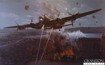 DHM2192B. Primary Target by Philip West. <p> In 1943, the RAF&#39;s 617 Squadron set out to destroy three dams in Germany&#39;s Ruhr valley.  They managed to breach two, giving a boost to Britain&#39;s war effort.  On 16th May 1943, 19 aircraft set out to destroy the Mohne, Eder and Sorpe dams in Germany&#39;s industrial heartland. They used specially-designed drum-shaped bouncing bombs which skimmed across the water, rolled down the dam wall and exploded at depth.  Only 11 of the aircraft returned from the perilous low-level mission in which they flew at just 150ft all the way from England before descending for the bombing run to defeat the German radar.  It resulted in the largest awarding of medals at any one time during the war.  The bouncing bombs were the brainchild of legendary aviation engineer Sir Barnes Wallis, who was knighted in 1968.  <i>Primary Target</i> depicts the final seconds on 17th May 1943 as the bouncing bomb of Flight Lt. Maltby&#39;s Lancaster Squadron breached the giant Mohne dam.<b><p>Signed by : <br>Captain Richard Todd OBE (deceased)<br>and<br>Harold Roddis.<p>Signature edition of 4 prints from the signed limited edition of 380 prints. <p> Paper size 32 inches x 24 inches (81cm x 61cm)