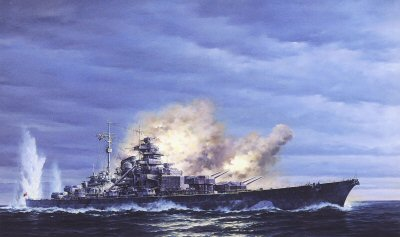 KMS Bismarck Returns Fire, May 24th, 1941 by Marii Chernev.