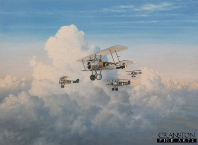 DHM2216.  Patrolling the Line by Gerald Coulson. <p>After having shot down an Albatros DV over Ypres, captain Billy Barker in his personal aircraft B6313 leads his flight of novices in loose formation back to Allied Lines. Flying West into the early evening sun against the back drop of a dramatic skyline the four Sopwith Camels head back to their base at St Omer. <b><p> Limited edition of 500 prints. <p> Image size 27.5 inches x 20 inches (70cm x 51cm)