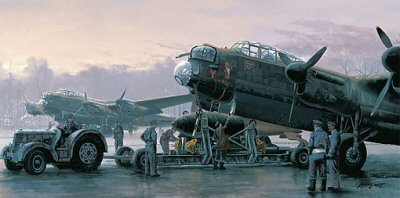 DHM2231. Preparing for the Tirpitz by Philip West. <p>Working around the clock and in all weather conditions the ground crew knew from the size of the bombs they were loading, this was going to be a very special operation for the Lancaster crews of 9 Squadron.  Brainchild of Barnes Wallis, the Tallboy bomb weighed in at an impressive 12,000lb.  On this occasion in November 1944 the crews and aircraft are being readied for departure to Lossiemouth or Kinloss on route to sink the Tirpitz laying at anchor near Tromso in Norway.<b><p>Signed by Sgt Jim Brookbank, <br>W. O. G. T. M. Caines, <br>Flg Off Jim Pinning <br>and <br>Flt Lt W G Rees.<p>Signed limited edition of 250 prints. <p> Paper size 28 inches x 16 inches (71cm x 41cm)