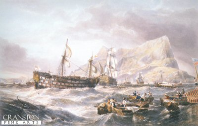 The Victory towed into Gibraltar after Trafalgar by William Clarkson Stanfield.